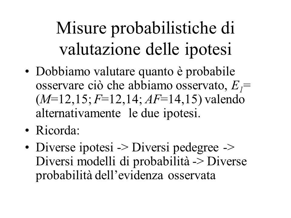 Misure probabilistiche di valutazione delle ipotesi Dobbiamo valutare quanto è probabile osservare ciò che abbiamo osservato, E 1 = (M=12,15; F=12,14;