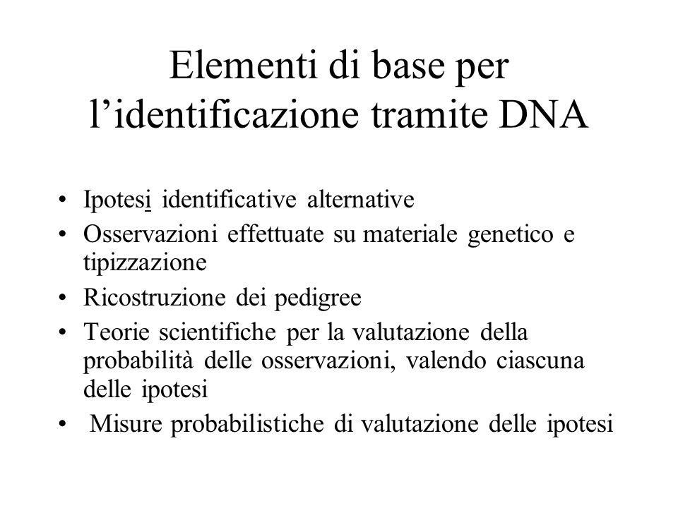 Elementi di base per l'identificazione tramite DNA Ipotesi identificative alternative Osservazioni effettuate su materiale genetico e tipizzazione Ric