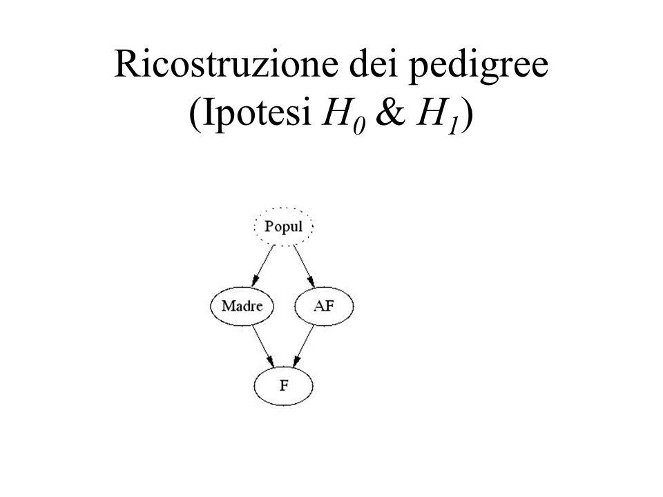 Ricostruzione dei pedigree (Ipotesi H 0 & H 1 )