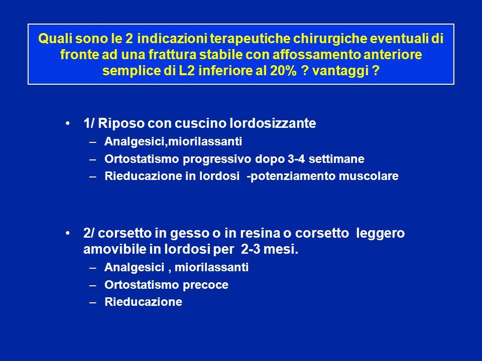 Quali sono le 2 indicazioni terapeutiche chirurgiche eventuali di fronte ad una frattura stabile con affossamento anteriore semplice di L2 inferiore a