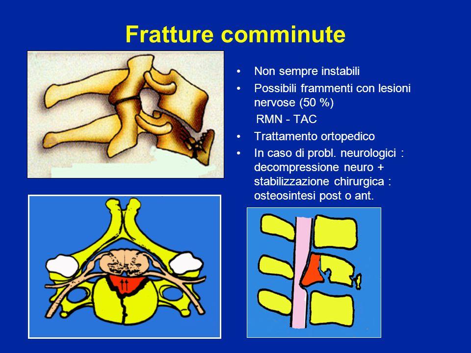 Fratture comminute Non sempre instabili Possibili frammenti con lesioni nervose (50 %) RMN - TAC Trattamento ortopedico In caso di probl. neurologici