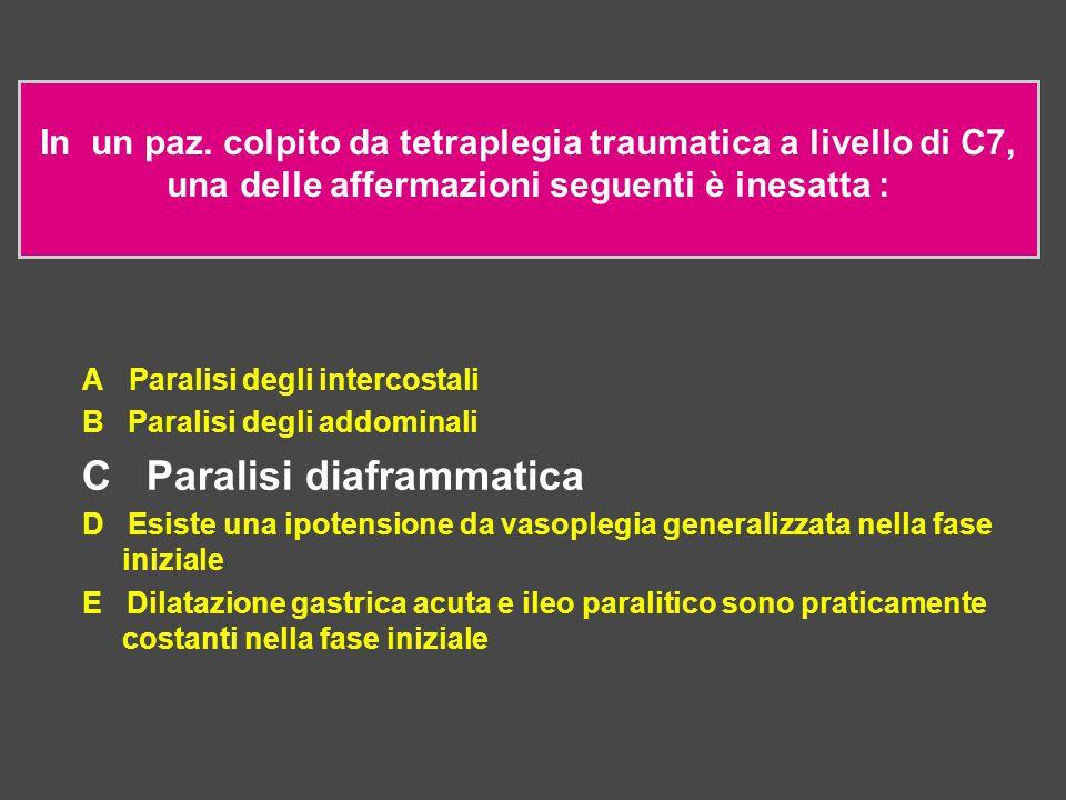 In un paz. colpito da tetraplegia traumatica a livello di C7, una delle affermazioni seguenti è inesatta : A Paralisi degli intercostali B Paralisi de