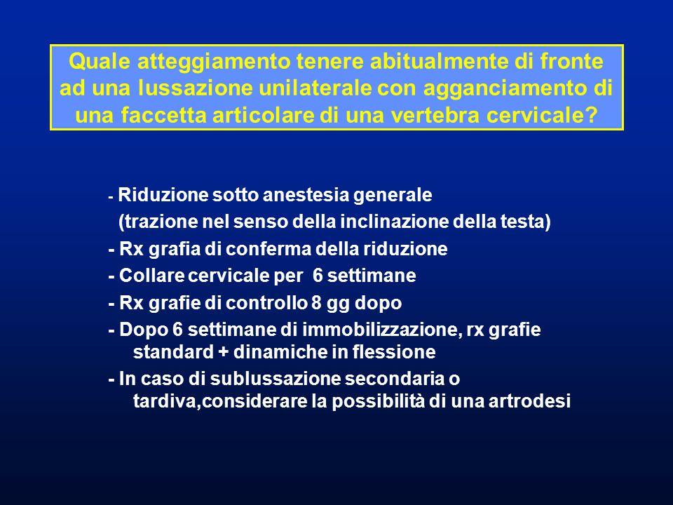 - Riduzione sotto anestesia generale (trazione nel senso della inclinazione della testa) - Rx grafia di conferma della riduzione - Collare cervicale p