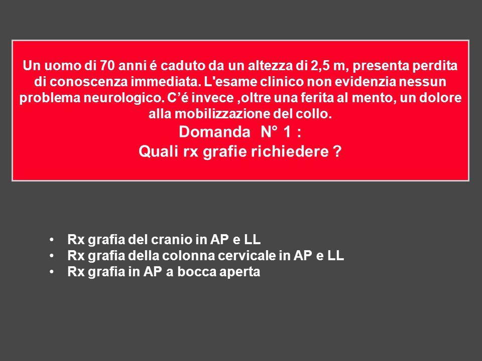 Rx grafia del cranio in AP e LL Rx grafia della colonna cervicale in AP e LL Rx grafia in AP a bocca aperta Un uomo di 70 anni é caduto da un altezza