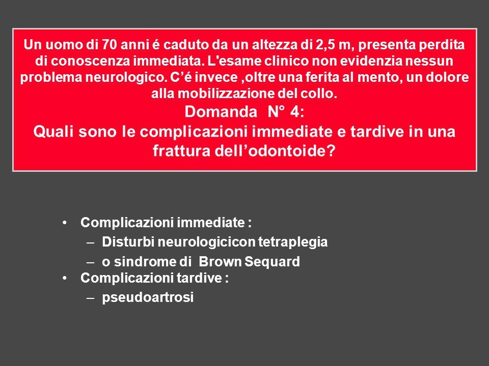 Complicazioni immediate : –Disturbi neurologicicon tetraplegia –o sindrome di Brown Sequard Complicazioni tardive : –pseudoartrosi Un uomo di 70 anni