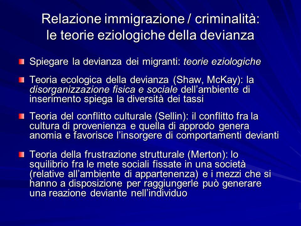 Relazione immigrazione / criminalità: le teorie del controllo sociale George H.