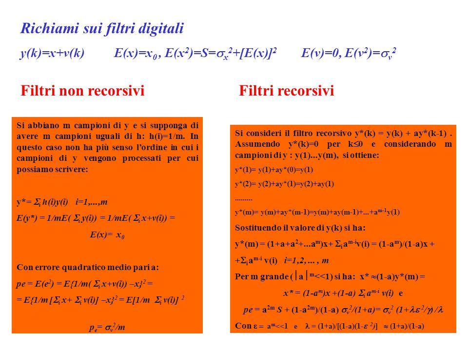 Richiami sui filtri digitali y(k)=x+v(k) E(x)=x 0, E(x 2 )=S=  x 2 +[E(x)] 2 E(v)=0, E(v 2 )=  v 2 Filtri non recorsivi Si abbiano m campioni di y e si supponga di avere m campioni uguali di h: h(i)=1/m.