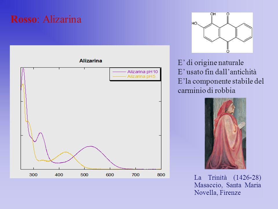 Rosso: Alizarina E' di origine naturale E' usato fin dall'antichità E'la componente stabile del carminio di robbia La Trinità (1426-28) Masaccio, Sant