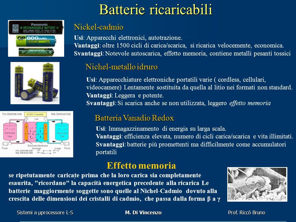 Prof. Riccò Bruno Sistemi a μprocessore L-SM. Di Vincenzo se ripetutamente caricate prima che la loro carica sia completamente esaurita,