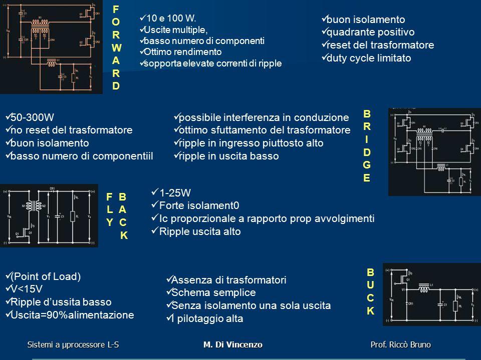 Prof. Riccò Bruno Sistemi a μprocessore L-SM. Di Vincenzo 10 e 100 W. Uscite multiple, basso numero di componenti Ottimo rendimento sopporta elevate c