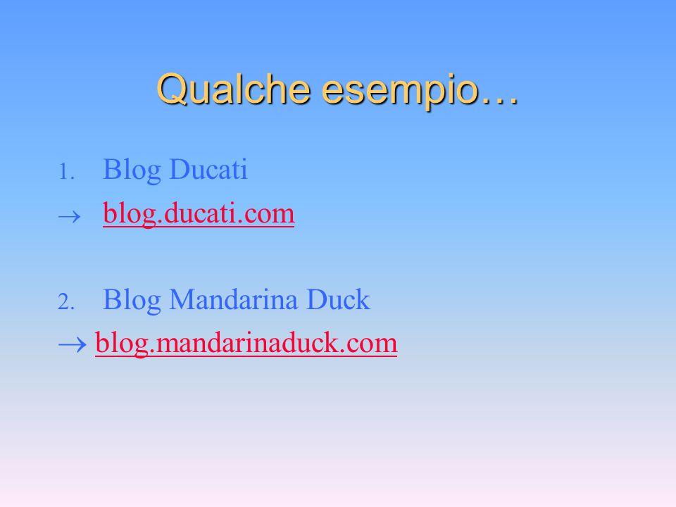 Qualche esempio… 1. Blog Ducati  blog.ducati.com blog.ducati.com 2. Blog Mandarina Duck  blog.mandarinaduck.comblog.mandarinaduck.com