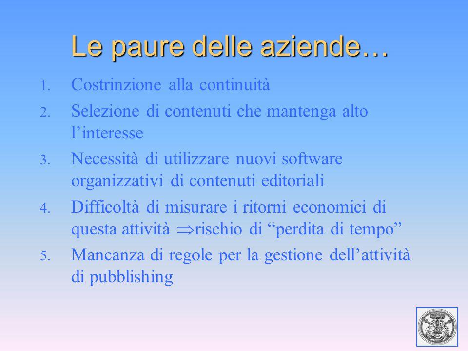 Le paure delle aziende… 1. Costrinzione alla continuità 2. Selezione di contenuti che mantenga alto l'interesse 3. Necessità di utilizzare nuovi softw