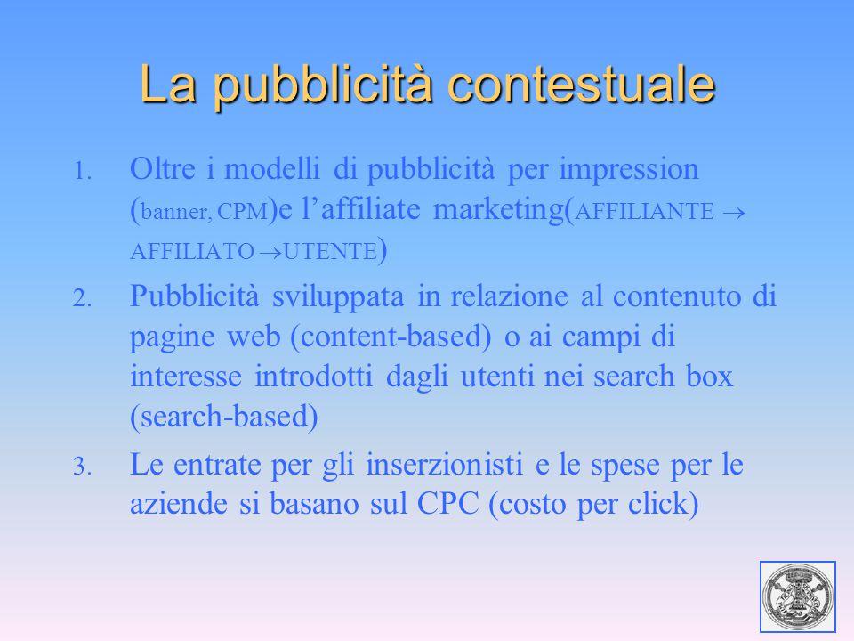 La pubblicità contestuale 1. Oltre i modelli di pubblicità per impression ( banner, CPM )e l'affiliate marketing( AFFILIANTE  AFFILIATO  UTENTE ) 2.