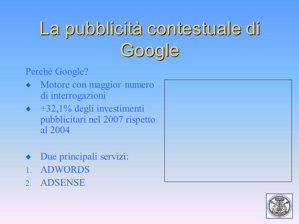 La pubblicità contestuale di Google Perché Google? Motore con maggior numero di interrogazioni +32,1% degli investimenti pubblicitari nel 2007 rispett