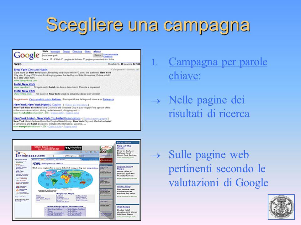 Scegliere una campagna 1. Campagna per parole chiave:  Nelle pagine dei risultati di ricerca  Sulle pagine web pertinenti secondo le valutazioni di