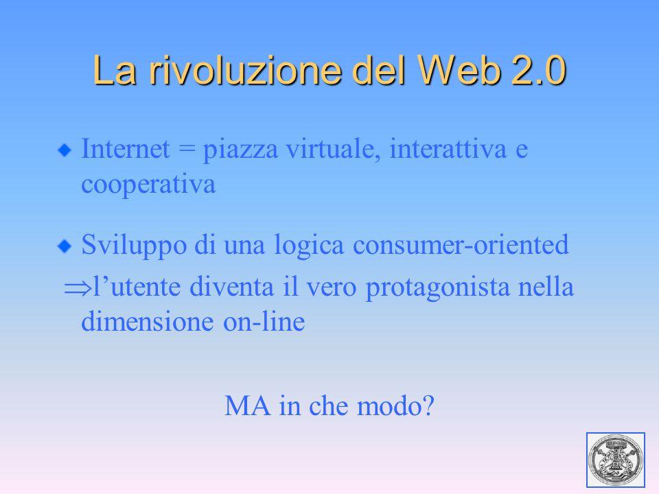 La rivoluzione del Web 2.0 Internet = piazza virtuale, interattiva e cooperativa Sviluppo di una logica consumer-oriented  l'utente diventa il vero p