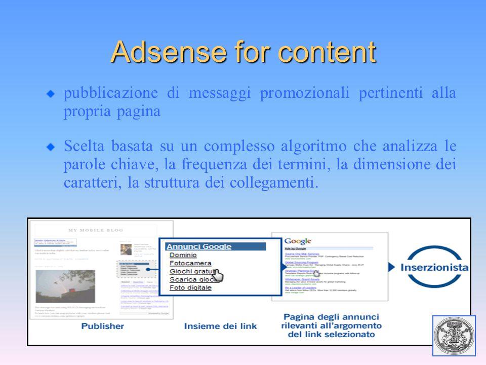 Adsense for content pubblicazione di messaggi promozionali pertinenti alla propria pagina Scelta basata su un complesso algoritmo che analizza le paro
