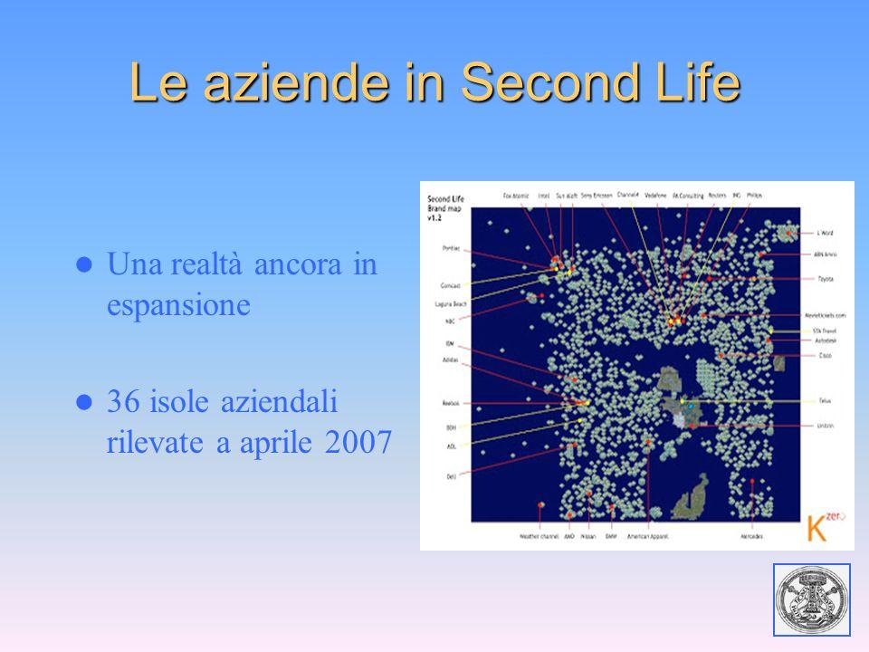 Le aziende in Second Life Una realtà ancora in espansione 36 isole aziendali rilevate a aprile 2007