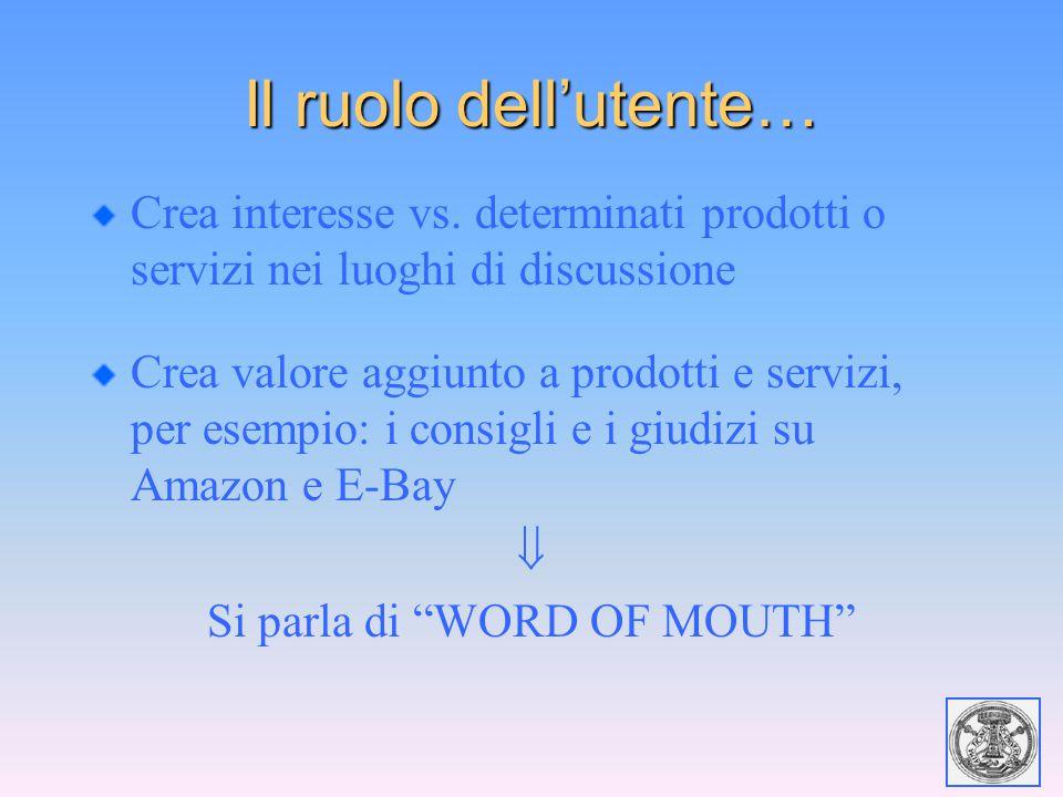 Il ruolo dell'utente… Crea interesse vs. determinati prodotti o servizi nei luoghi di discussione Crea valore aggiunto a prodotti e servizi, per esemp