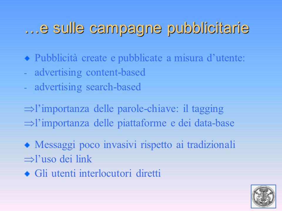 …e sulle campagne pubblicitarie Pubblicità create e pubblicate a misura d'utente: - advertising content-based - advertising search-based  l'importanz