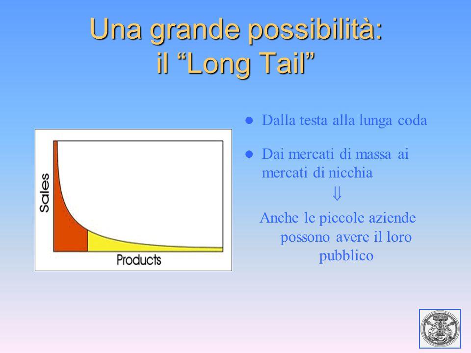 """Una grande possibilità: il """"Long Tail"""" Dalla testa alla lunga coda Dai mercati di massa ai mercati di nicchia  Anche le piccole aziende possono avere"""