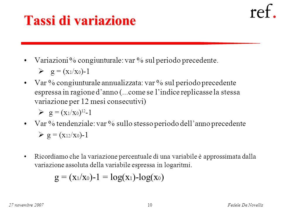 Fedele De Novellis 27 novembre 200710 Tassi di variazione Variazioni % congiunturale: var % sul periodo precedente.  g = (x 1 /x 0 )-1 Var % congiunt