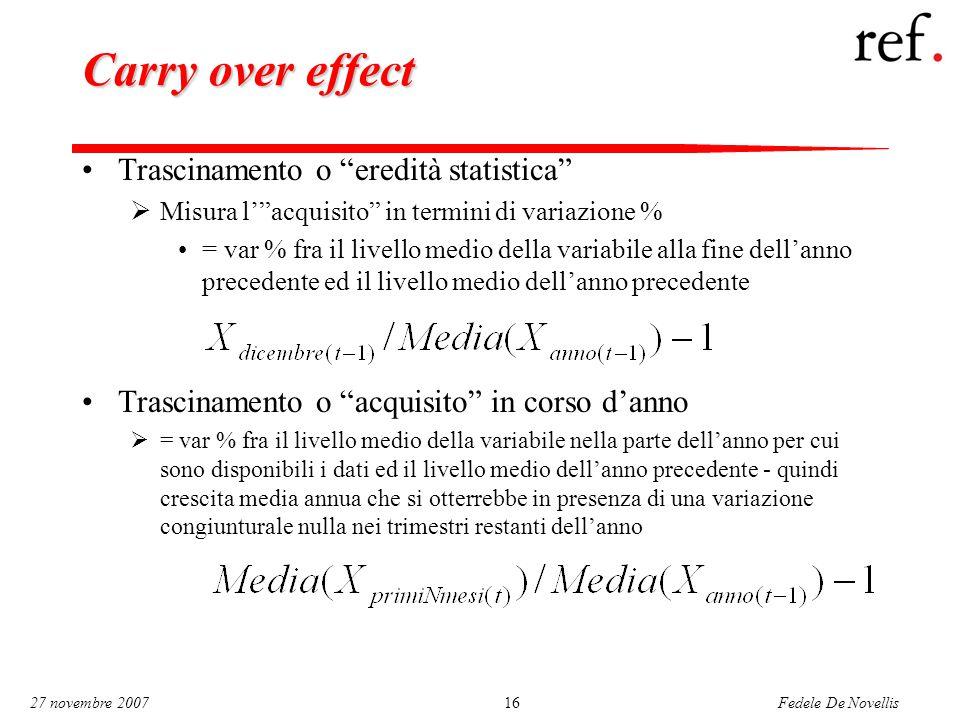 """Fedele De Novellis 27 novembre 200716 Carry over effect Trascinamento o """"eredità statistica""""  Misura l'""""acquisito"""" in termini di variazione % = var %"""