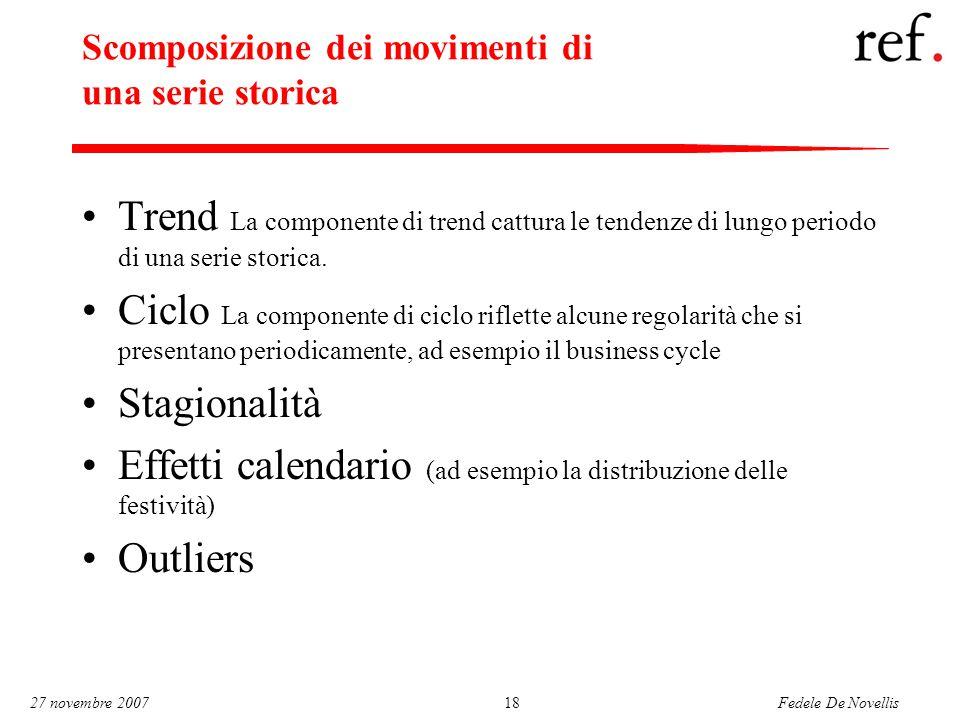 Fedele De Novellis 27 novembre 200718 Scomposizione dei movimenti di una serie storica Trend La componente di trend cattura le tendenze di lungo periodo di una serie storica.