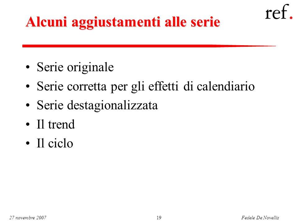 Fedele De Novellis 27 novembre 200719 Alcuni aggiustamenti alle serie Serie originale Serie corretta per gli effetti di calendiario Serie destagionalizzata Il trend Il ciclo