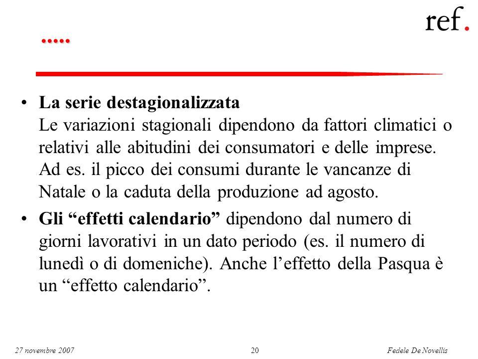 Fedele De Novellis 27 novembre 200720..... La serie destagionalizzata Le variazioni stagionali dipendono da fattori climatici o relativi alle abitudin