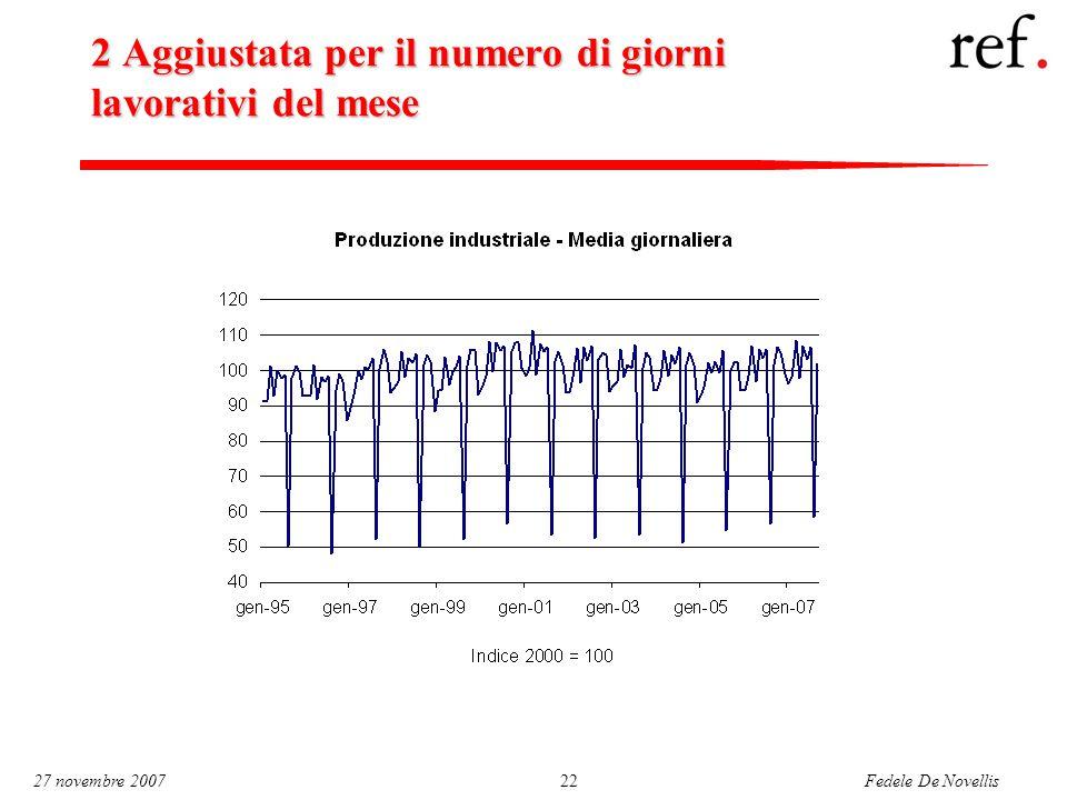 Fedele De Novellis 27 novembre 200722 2 Aggiustata per il numero di giorni lavorativi del mese