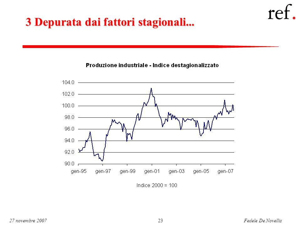 Fedele De Novellis 27 novembre 200723 3 Depurata dai fattori stagionali...