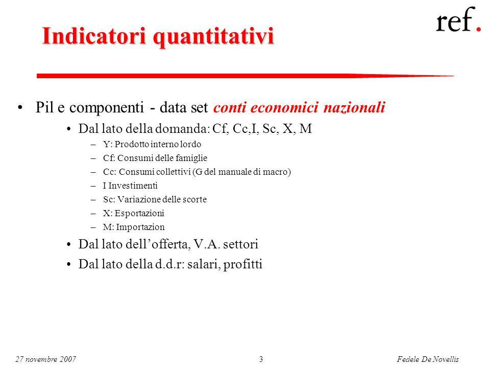Fedele De Novellis 27 novembre 20073 Indicatori quantitativi Pil e componenti - data set conti economici nazionali Dal lato della domanda: Cf, Cc,I, S
