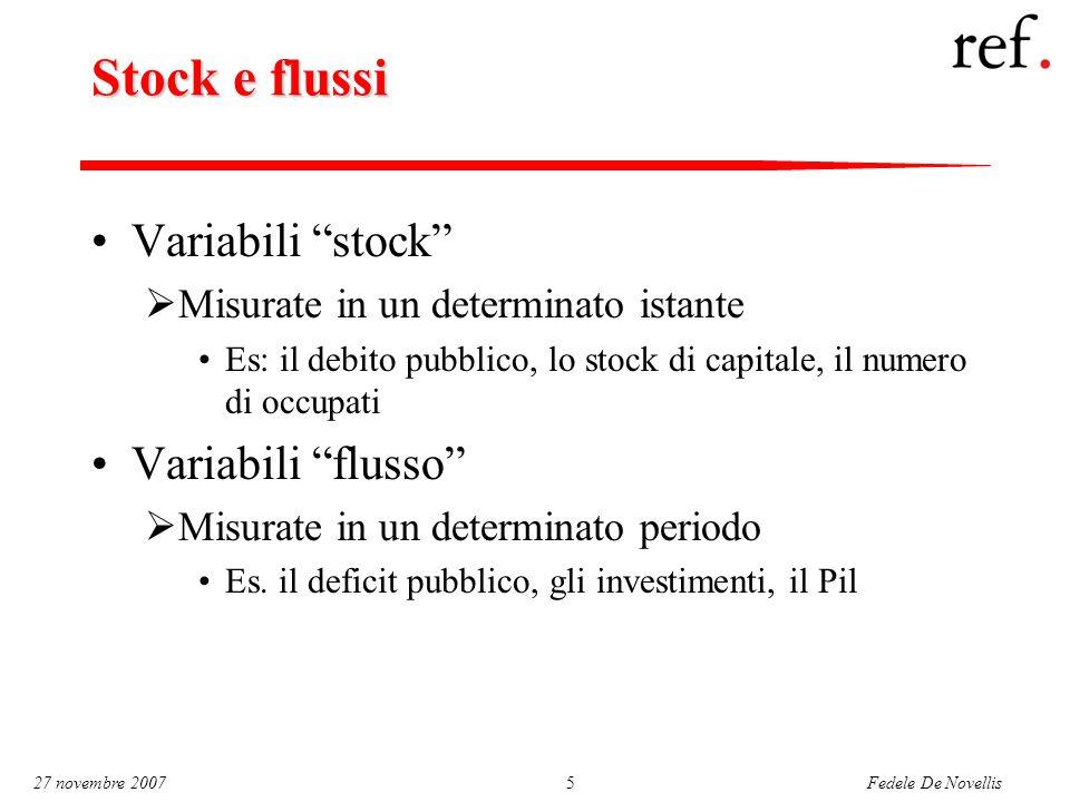 Fedele De Novellis 27 novembre 20075 Stock e flussi Variabili stock  Misurate in un determinato istante Es: il debito pubblico, lo stock di capitale, il numero di occupati Variabili flusso  Misurate in un determinato periodo Es.
