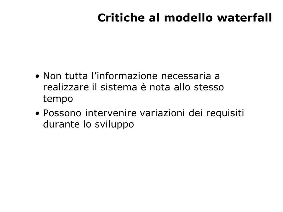 Critiche al modello waterfall Non tutta l'informazione necessaria a realizzare il sistema è nota allo stesso tempo Possono intervenire variazioni dei