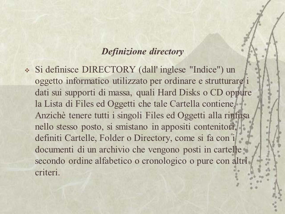 Definizione directory  Si definisce DIRECTORY (dall inglese Indice ) un oggetto informatico utilizzato per ordinare e strutturare i dati sui supporti di massa, quali Hard Disks o CD oppure la Lista di Files ed Oggetti che tale Cartella contiene.