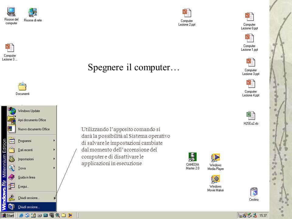 Spegnere il computer… Utilizzando l'apposito comando si darà la possibilità al Sistema operativo di salvare le impostazioni cambiate dal momento dell'accensione del computer e di disattivare le applicazioni in esecuzione