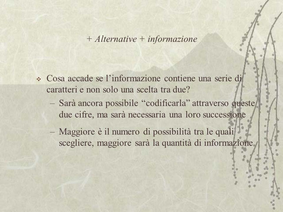 + Alternative + informazione  Cosa accade se l'informazione contiene una serie di caratteri e non solo una scelta tra due.