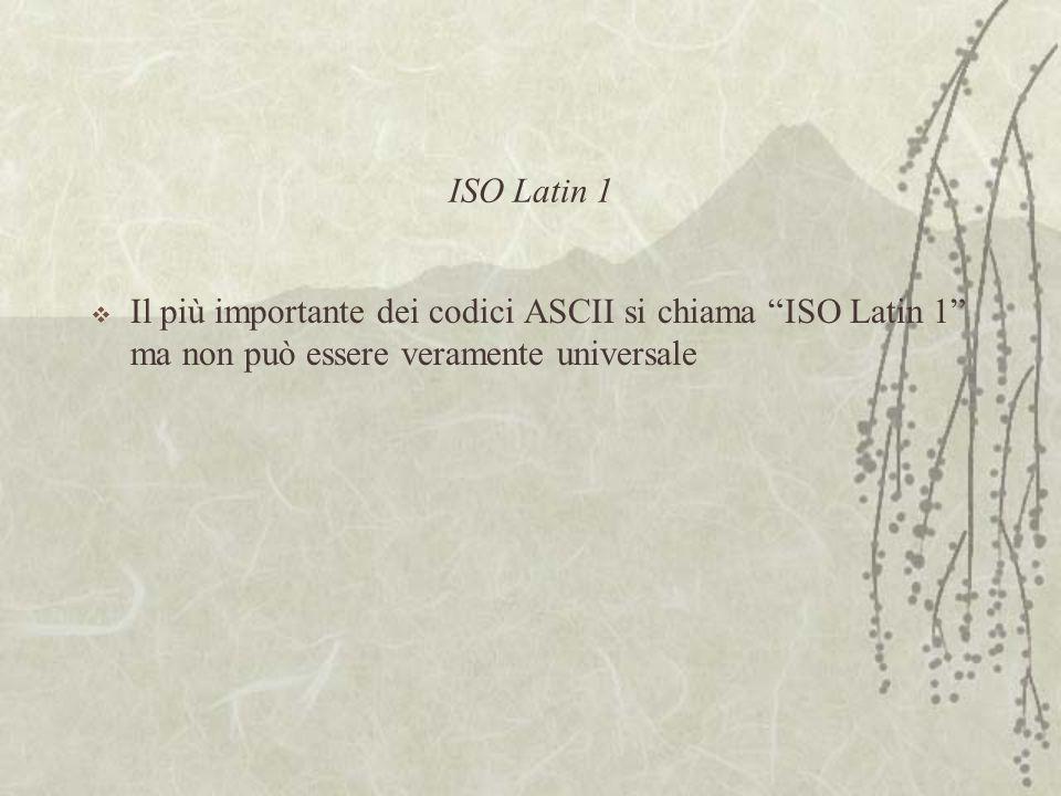 ISO Latin 1  Il più importante dei codici ASCII si chiama ISO Latin 1 ma non può essere veramente universale