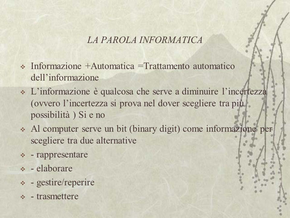 LA PAROLA INFORMATICA  Informazione +Automatica =Trattamento automatico dell'informazione  L'informazione è qualcosa che serve a diminuire l'incertezza (ovvero l'incertezza si prova nel dover scegliere tra più possibilità ) Si e no  Al computer serve un bit (binary digit) come informazione per scegliere tra due alternative  - rappresentare  - elaborare  - gestire/reperire  - trasmettere
