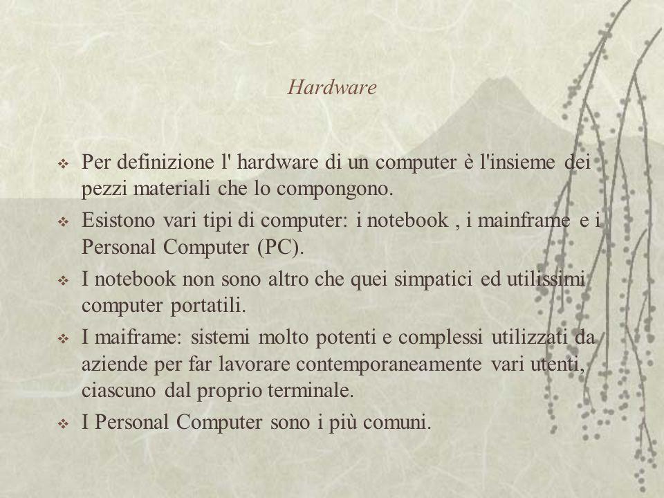 Hardware  Per definizione l hardware di un computer è l insieme dei pezzi materiali che lo compongono.