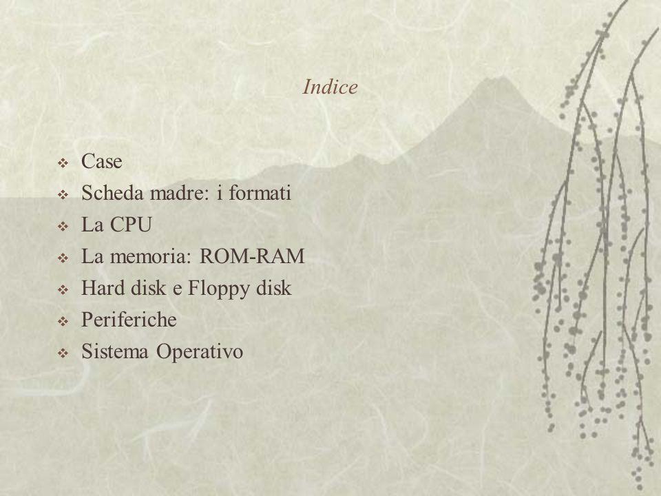 Indice  Case  Scheda madre: i formati  La CPU  La memoria: ROM-RAM  Hard disk e Floppy disk  Periferiche  Sistema Operativo