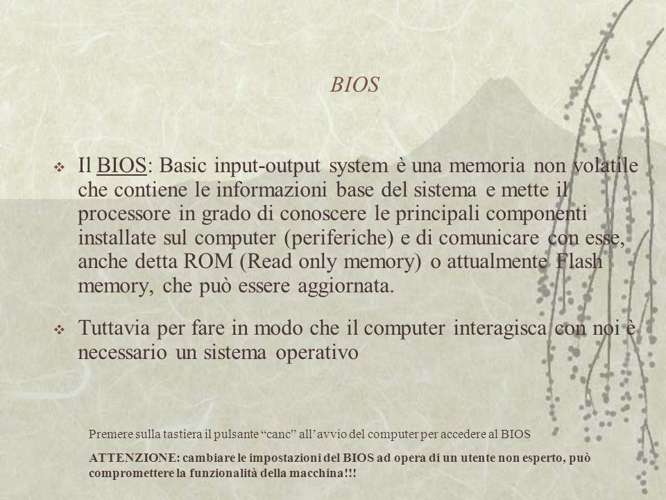 BIOS  Il BIOS: Basic input-output system è una memoria non volatile che contiene le informazioni base del sistema e mette il processore in grado di conoscere le principali componenti installate sul computer (periferiche) e di comunicare con esse, anche detta ROM (Read only memory) o attualmente Flash memory, che può essere aggiornata.