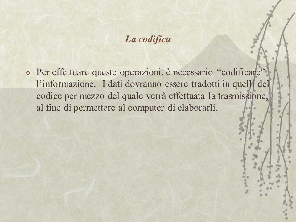 La codifica  Per effettuare queste operazioni, è necessario codificare l'informazione.