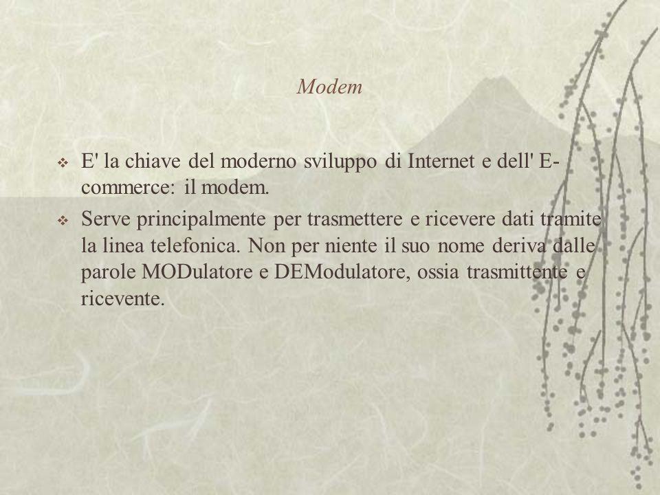 Modem  E la chiave del moderno sviluppo di Internet e dell E- commerce: il modem.