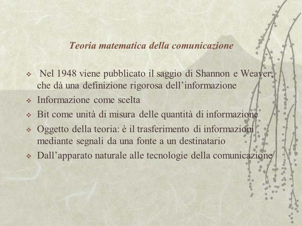 Teoria matematica della comunicazione  Nel 1948 viene pubblicato il saggio di Shannon e Weaver, che dà una definizione rigorosa dell'informazione  Informazione come scelta  Bit come unità di misura delle quantità di informazione  Oggetto della teoria: è il trasferimento di informazioni mediante segnali da una fonte a un destinatario  Dall'apparato naturale alle tecnologie della comunicazione
