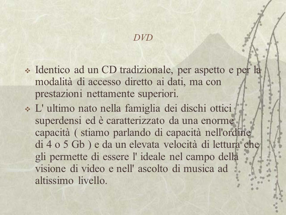 DVD  Identico ad un CD tradizionale, per aspetto e per la modalità di accesso diretto ai dati, ma con prestazioni nettamente superiori.