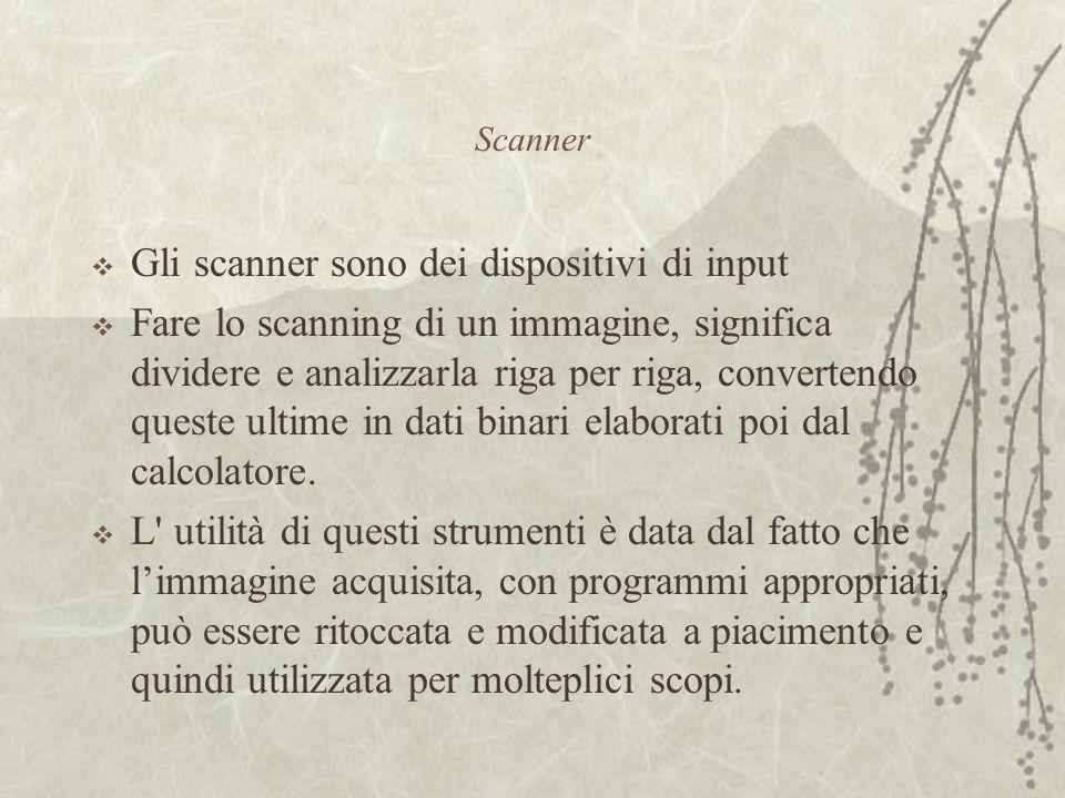 Scanner  Gli scanner sono dei dispositivi di input  Fare lo scanning di un immagine, significa dividere e analizzarla riga per riga, convertendo queste ultime in dati binari elaborati poi dal calcolatore.