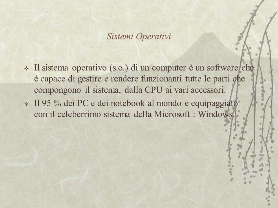 Sistemi Operativi  Il sistema operativo (s.o.) di un computer è un software che è capace di gestire e rendere funzionanti tutte le parti che compongono il sistema, dalla CPU ai vari accessori.