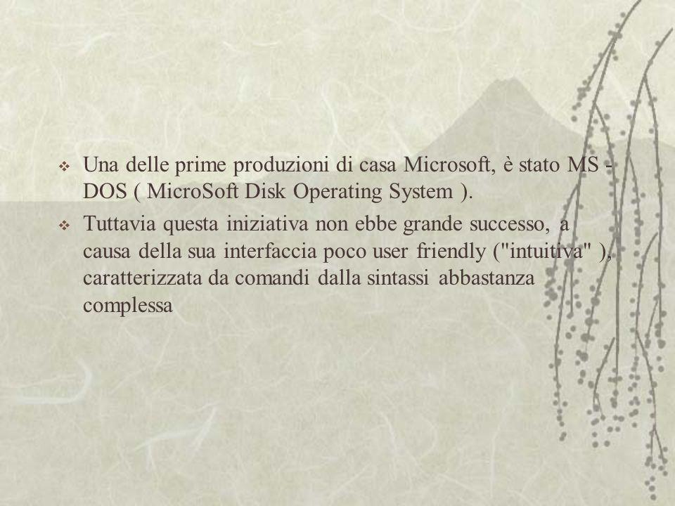  Una delle prime produzioni di casa Microsoft, è stato MS - DOS ( MicroSoft Disk Operating System ).
